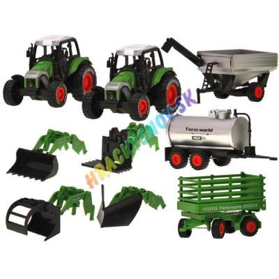 Farmársky traktor - sada 2ks + 2ks vlečka, cisterna, pluh, lyžica, ruka