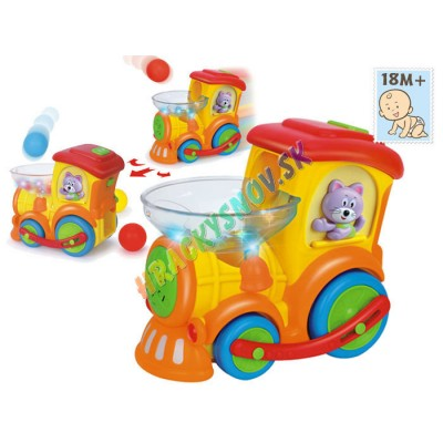 Huile Toys Farebná lokomotíva DoDo+hádzanie loptičiek